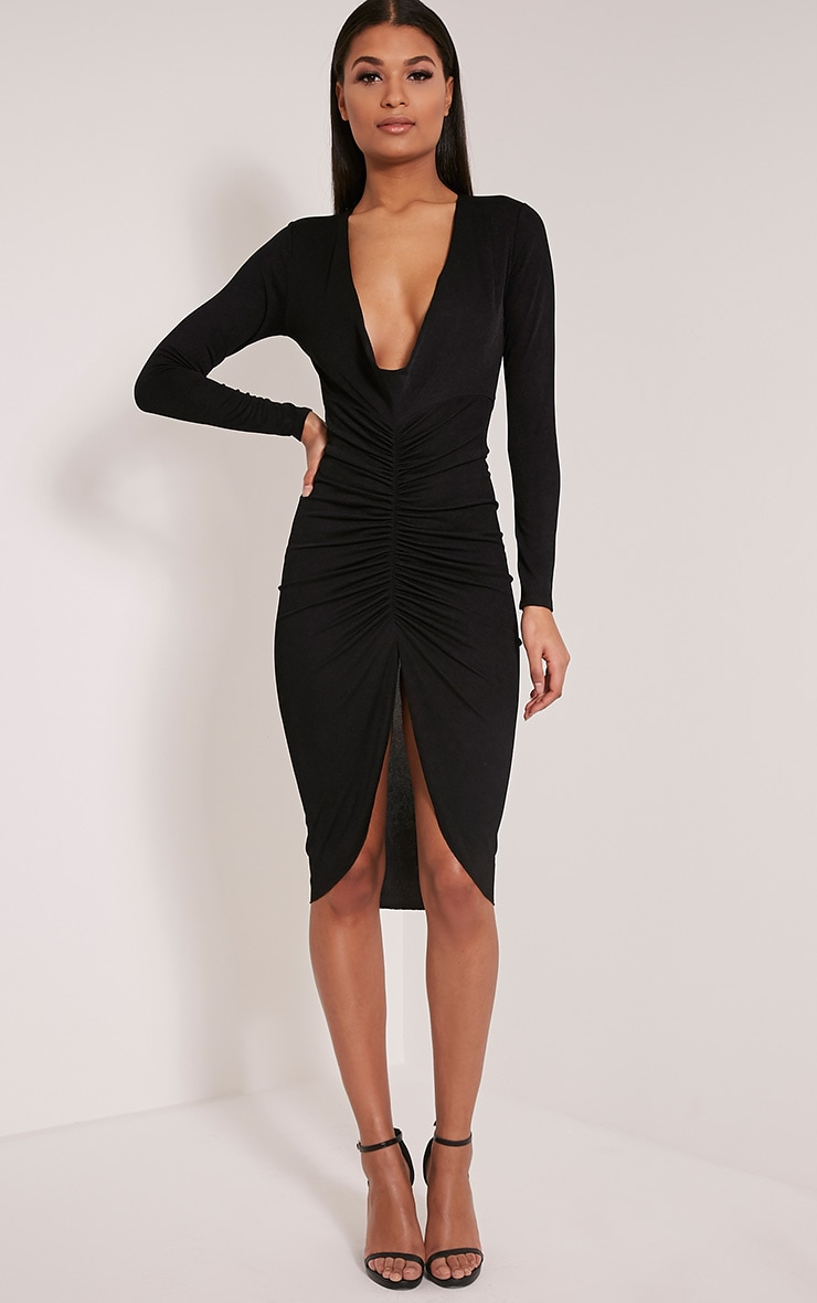 Zoey Black Ruched Midi Dress 5