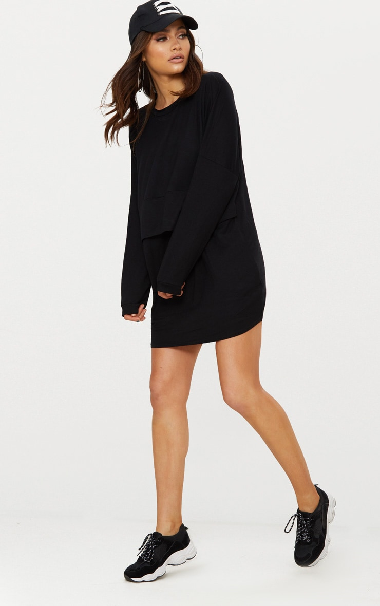 Black Long Sleeve Layer Jersey T Shirt Dress 3