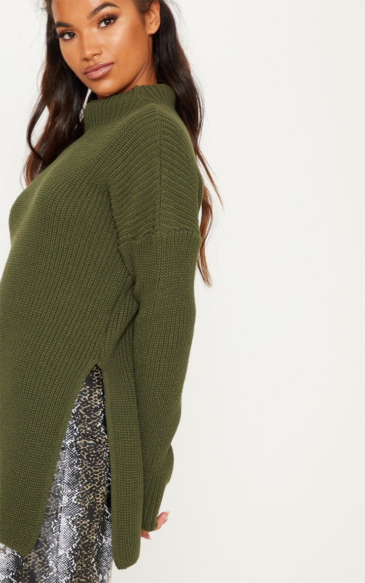 Olive High Neck Oversized Jumper 5