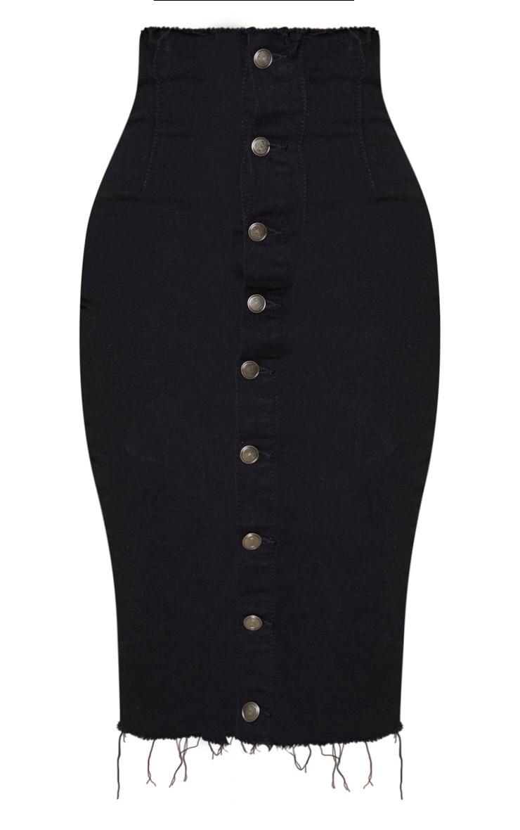 Shape Black Button Front Seam Detail Denim Midi Skirt 5
