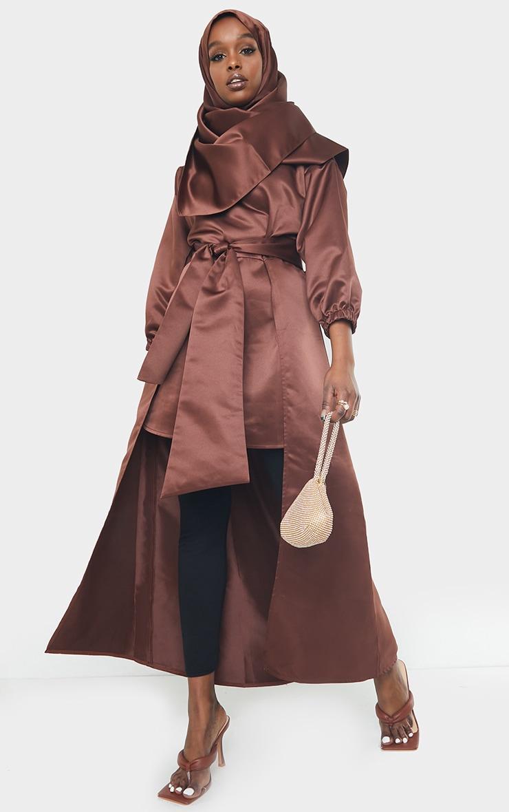 Chocolate Satin Tie Front Asymmetric Top 1