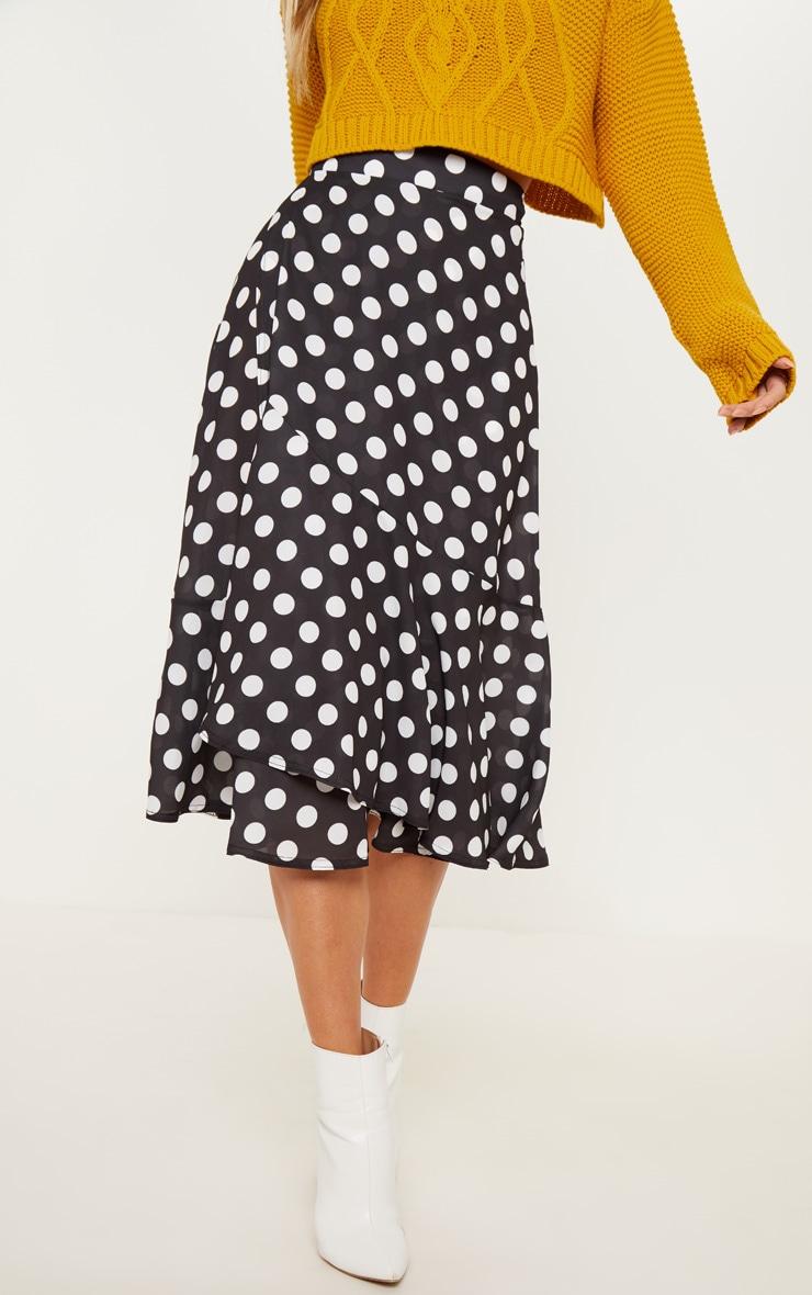 Black Polka Dot Frill Hem Tie Waist Midi Skirt 2