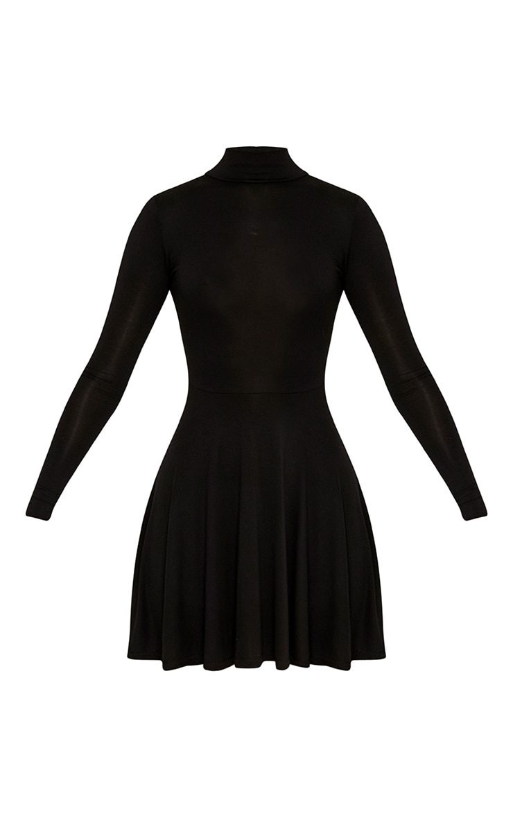 Black High Neck Jersey Skater Dress 3