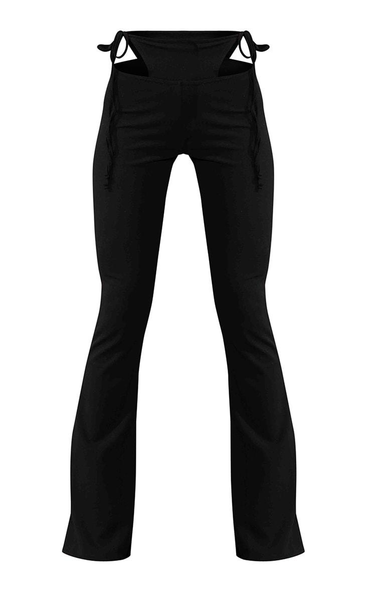 Pantalon évasé noir à détail string 5