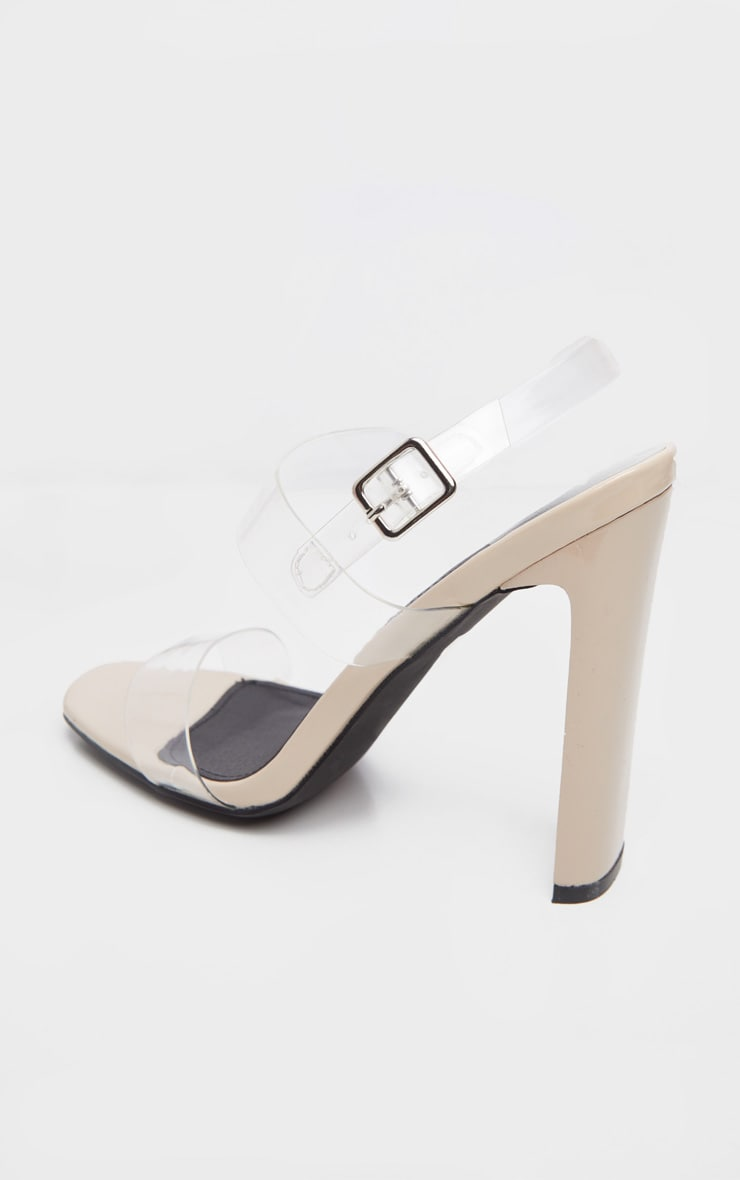 Nude Square Toe Clear Twin Strap Sandal 3
