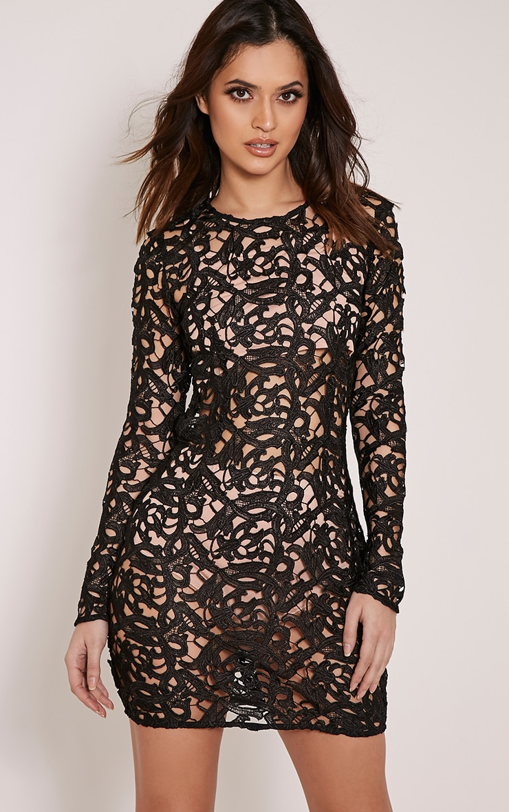 Danta Black Sheer Crochet Lace Dress 1