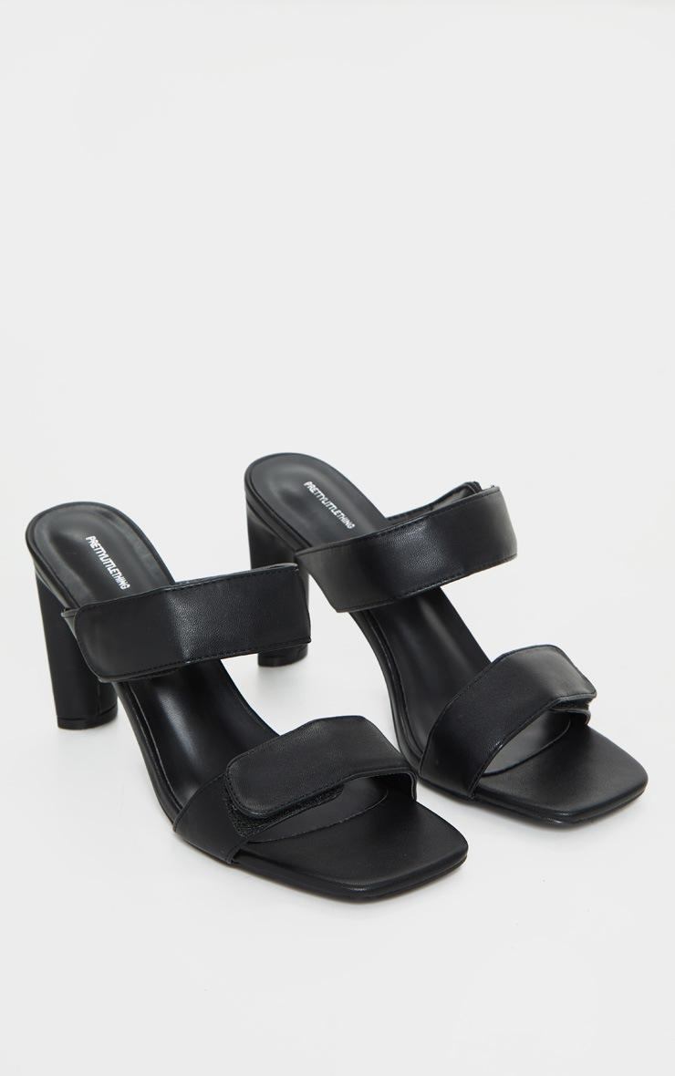 Mules noires carrées à doubles brides Velcro et talon moyen 3