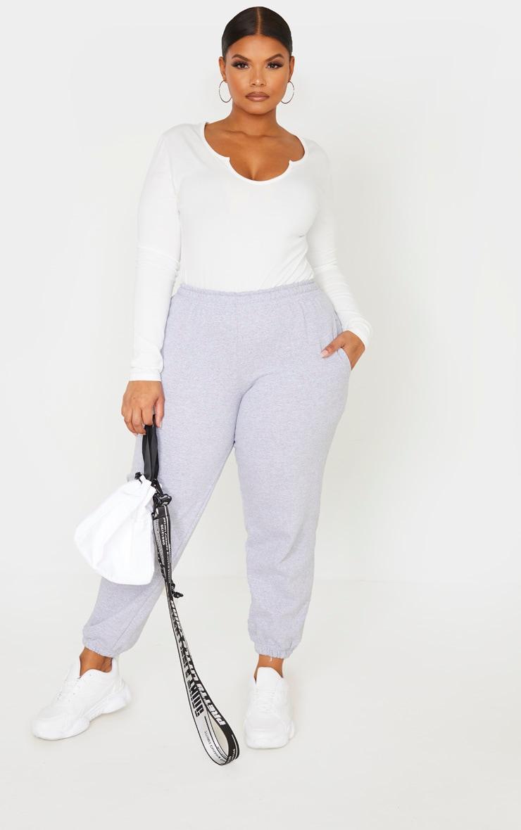 Plus Cream Cotton V Neck Bodysuit  5