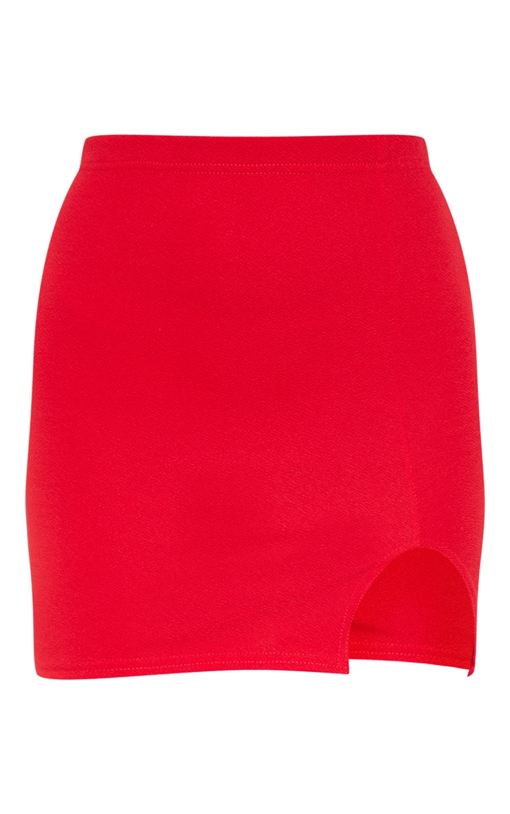 Red Split Mini Skirt  3