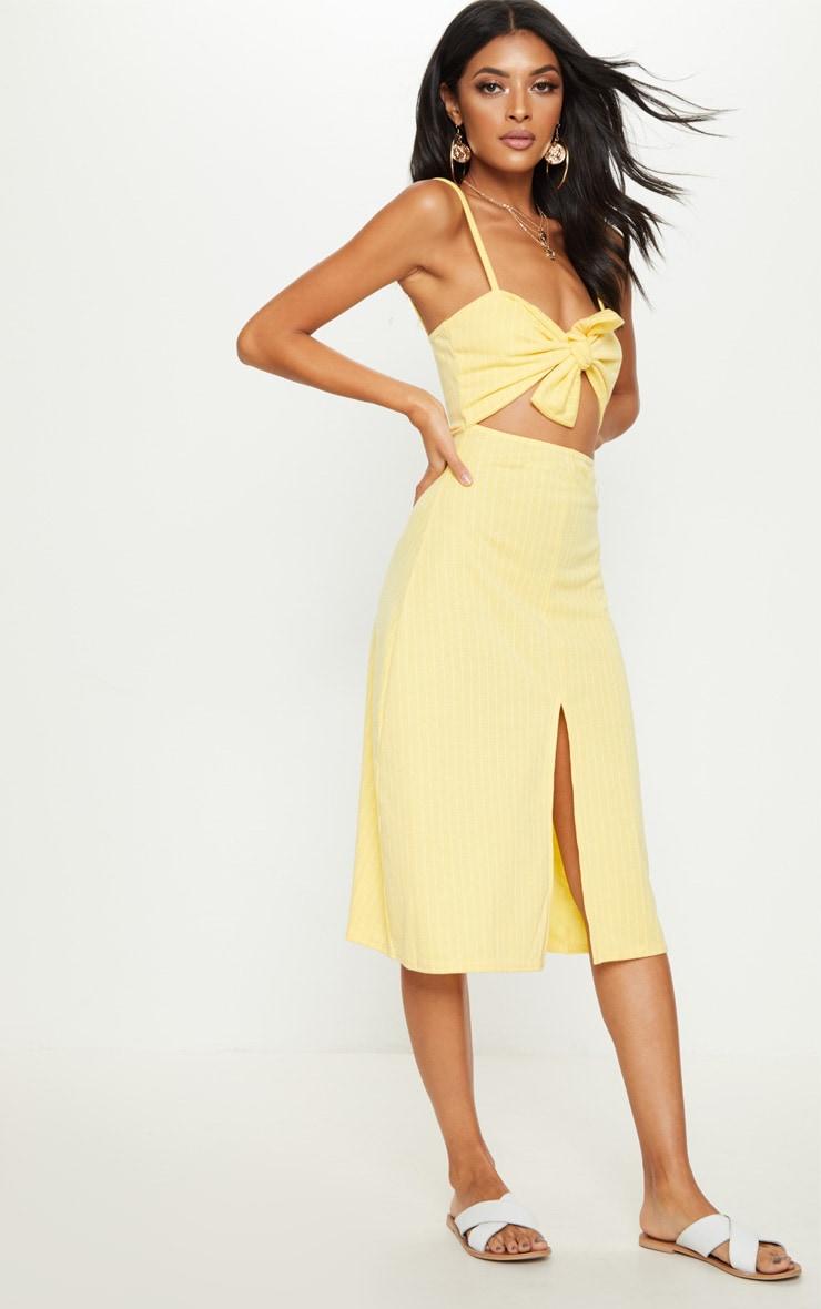 Lemon Pinstripe Tie Front Extreme Split Midi Dress 4