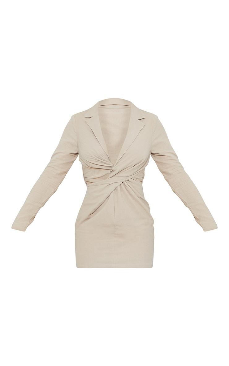 Stone Textured Cut Out Twist Detail Blazer Dress 5