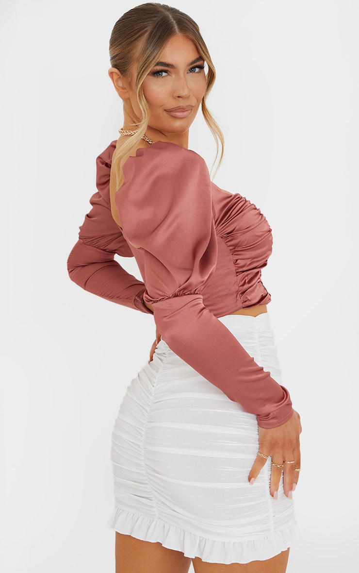 Terracotta Satin Ruched Front Puff Long Sleeve Crop Top 2