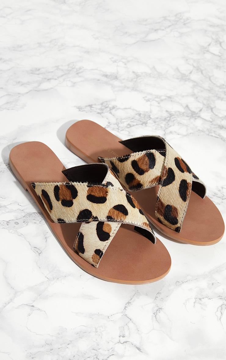 0e60e51cc8e32 Leopard Leather Cross Strap Sandal | PrettyLittleThing