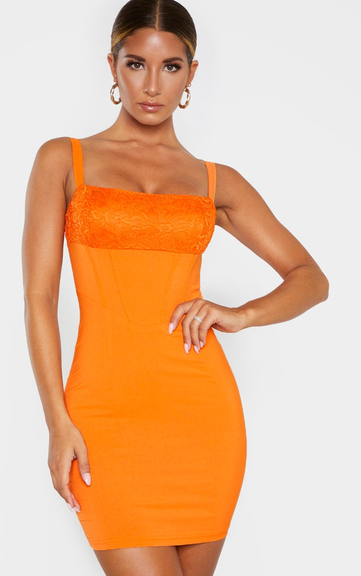 Robe moulante orange style corset à empiècement de dentelle 1