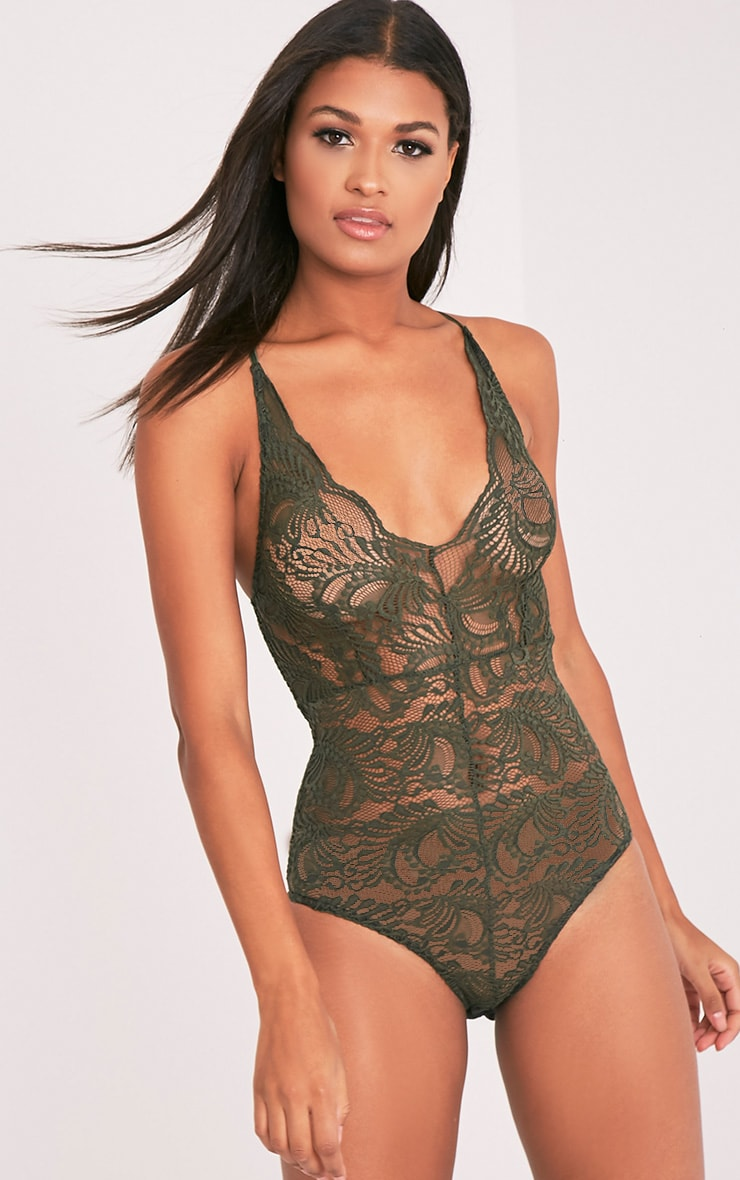Lucille Khaki Sheer Lace Cross Back Bodysuit 2