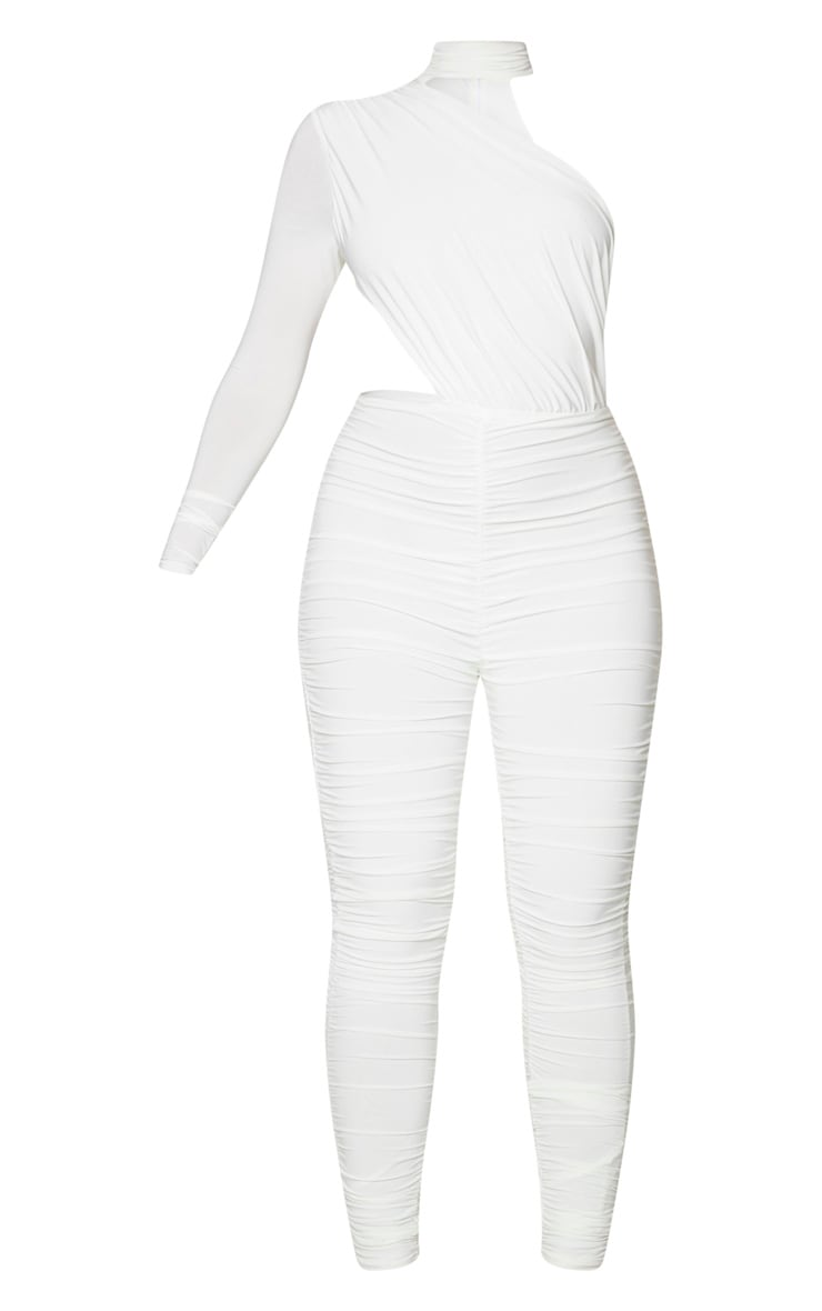 White Ruched One Shoulder Jumpsuit 5