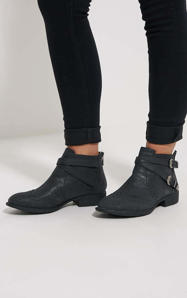 Phia Black Ankle Buckle Detail Chelsea Boots 1