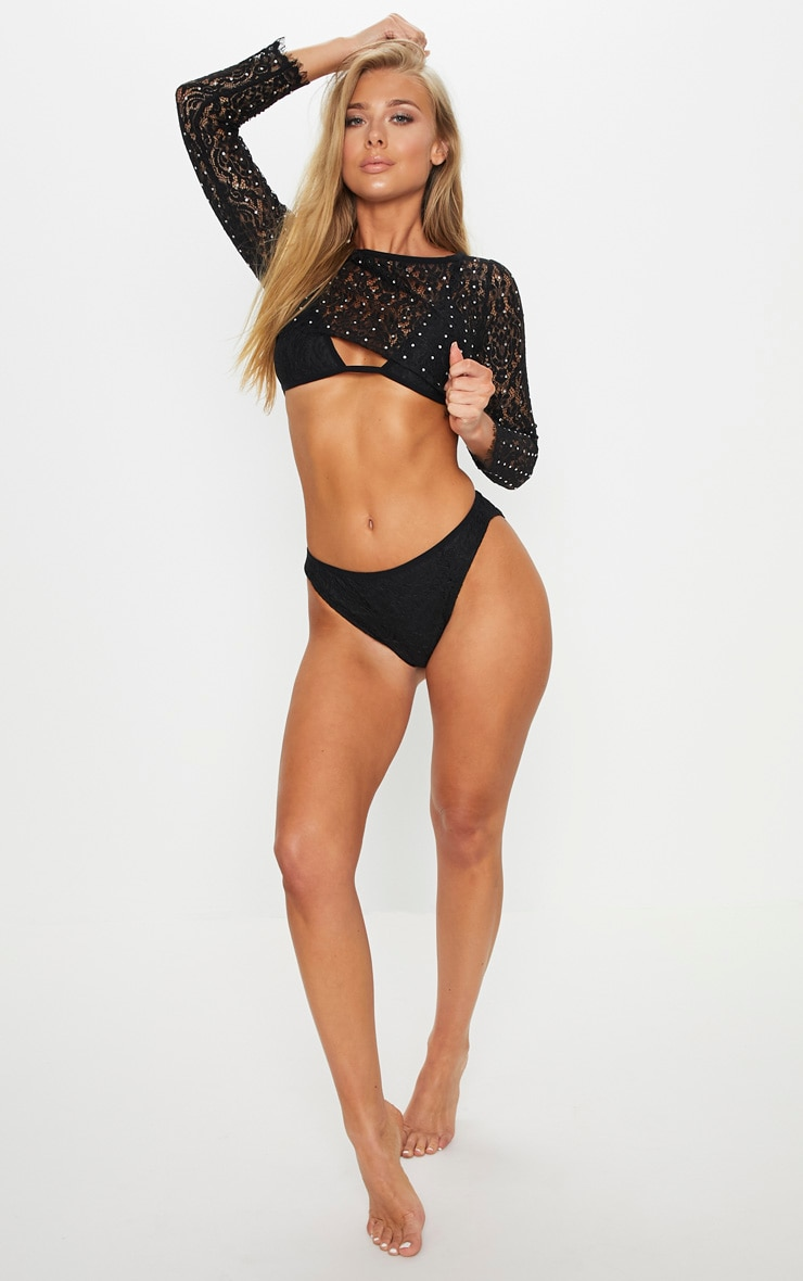 Premium Black 3 Piece Diamante Lace Long Sleeve Bikini Set 6