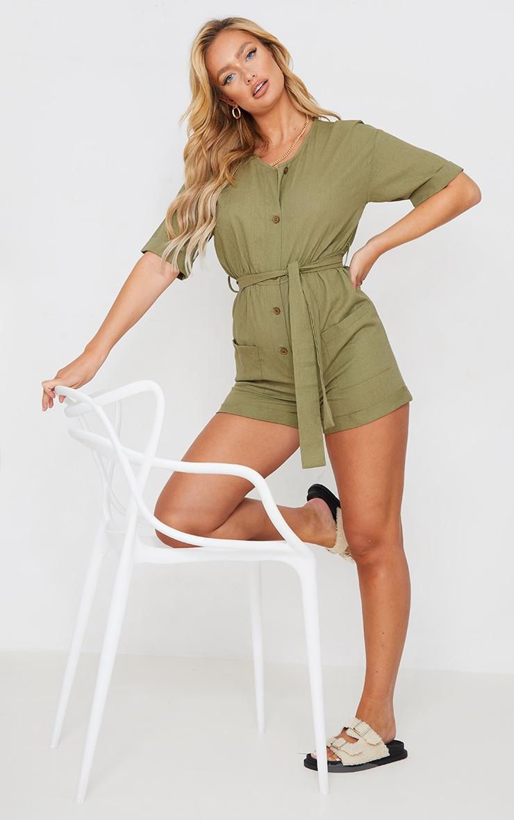 Khaki Linen Look Short Sleeve V Neck Shirt Playsuit 3