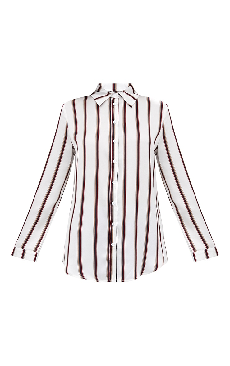 White Satin Stripe Shirt 3