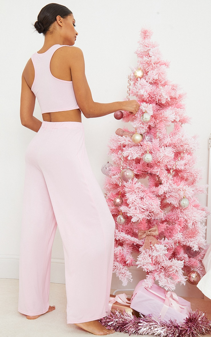 Pink Ruched Crop Top And Wide Leg Trousers Pj Set 2