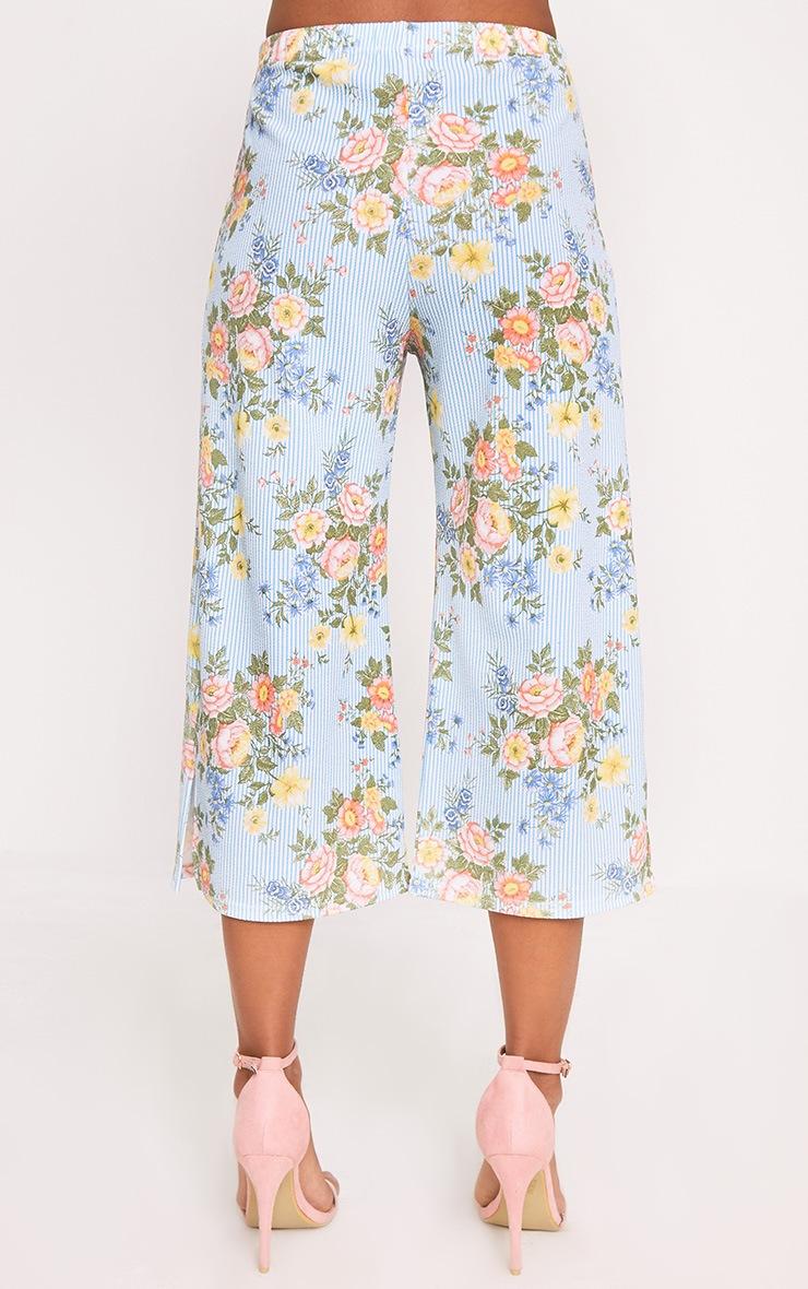 Light Blue Mix Floral Stripe Split Culottes 4