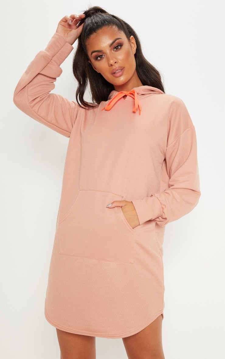 Peach Oversized Contrast Drawstring Hoodie Jumper Dress