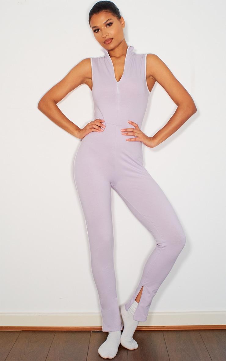 Lilac Zip Detail Sports Stripe Sleeveless Jumpsuit 1