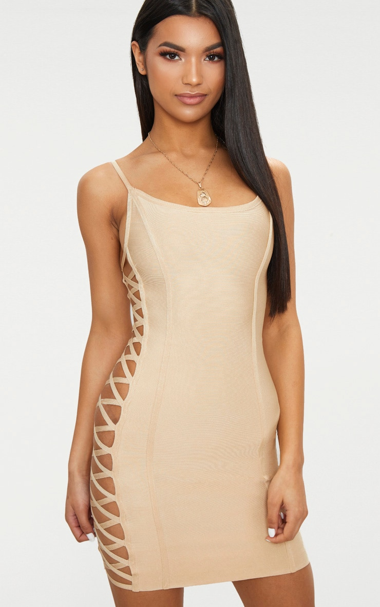 Queens lace up side bodycon dress size