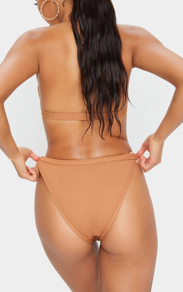 Mocha Crinkle Front Clasp Tanga Bikini Bottom 3