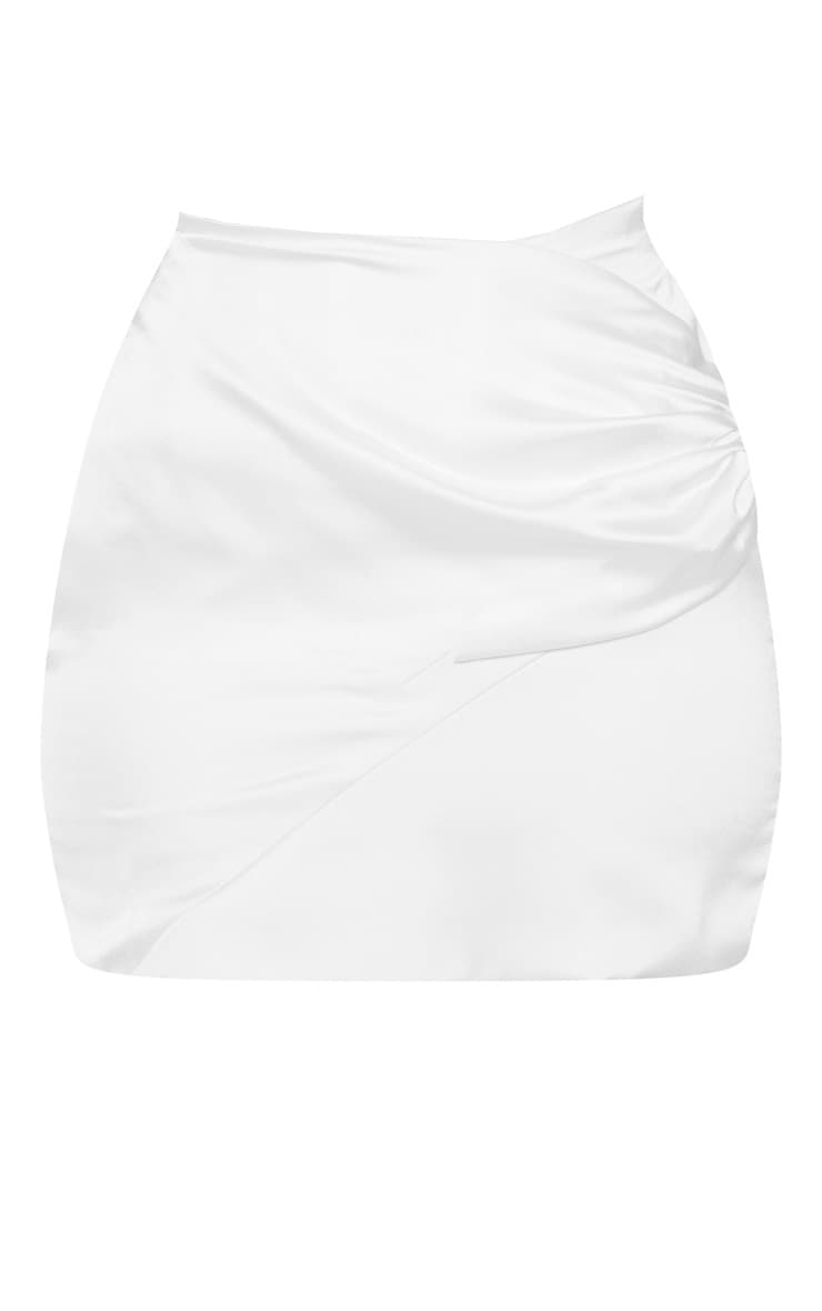 White Ruched Wrap Over Mini Skirt 3