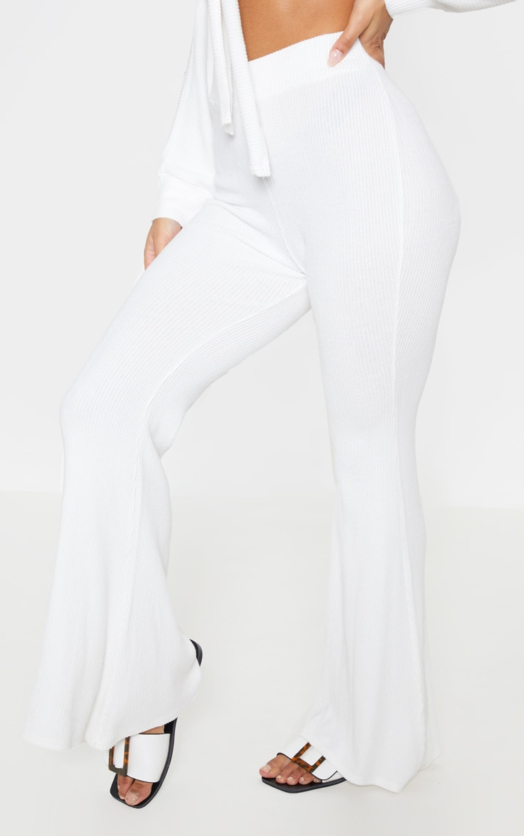 Cream Soft Rib Flare Leg Trousers 3