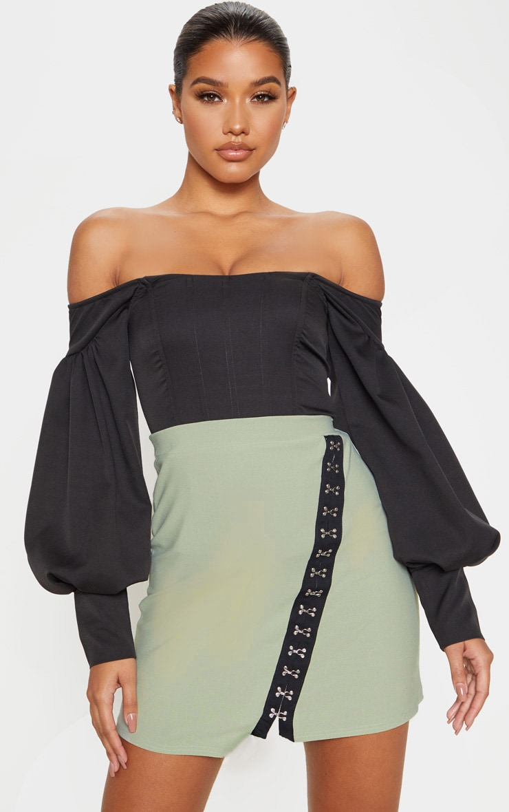 Sage Khaki Hook & Eye Detail Asymmetric Mini Skirt  1