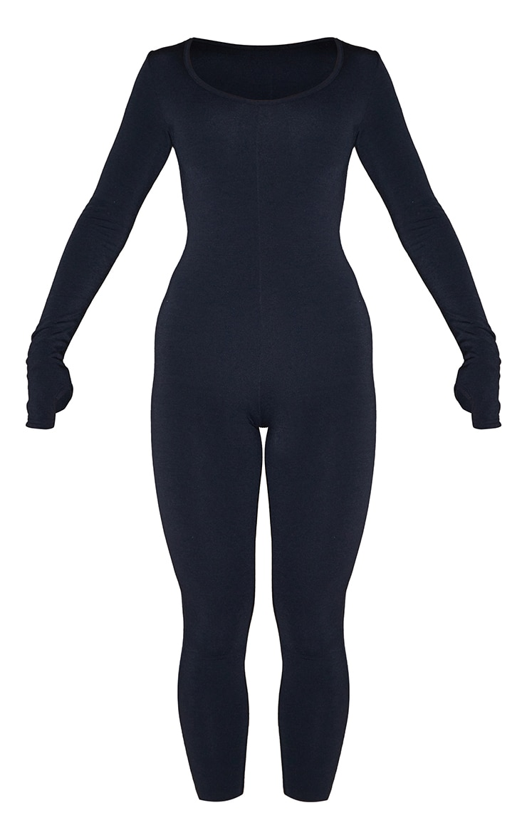 Recycled Black Contour Jersey Thumbhole Scoop Neck Jumpsuit 5