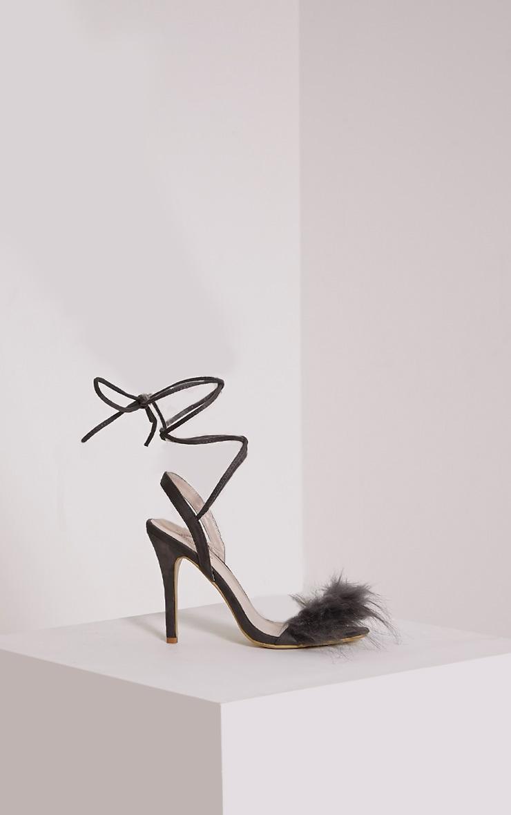 Missie Charcoal Fluffy Tie Sandals 3