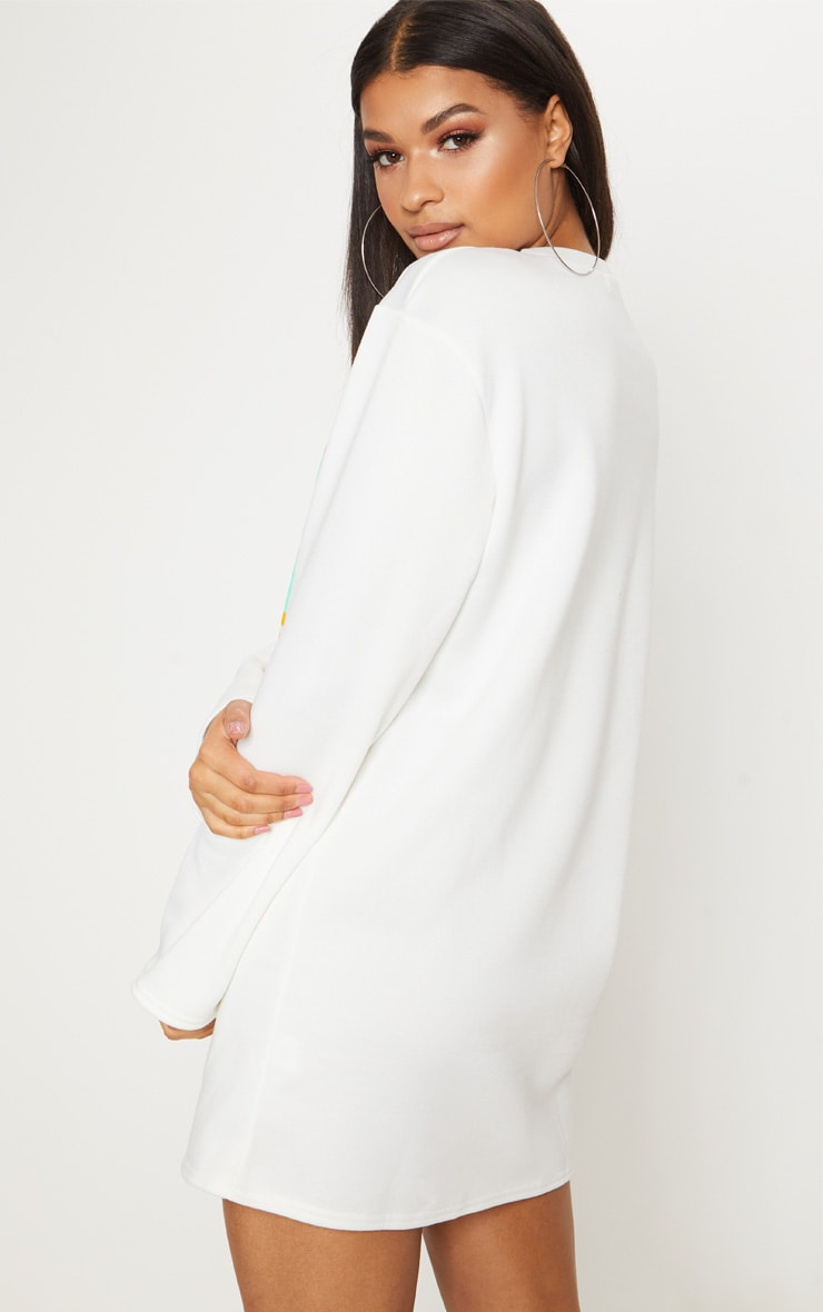 PRETTYLITTLETHING White Slogan Jumper Dress 2