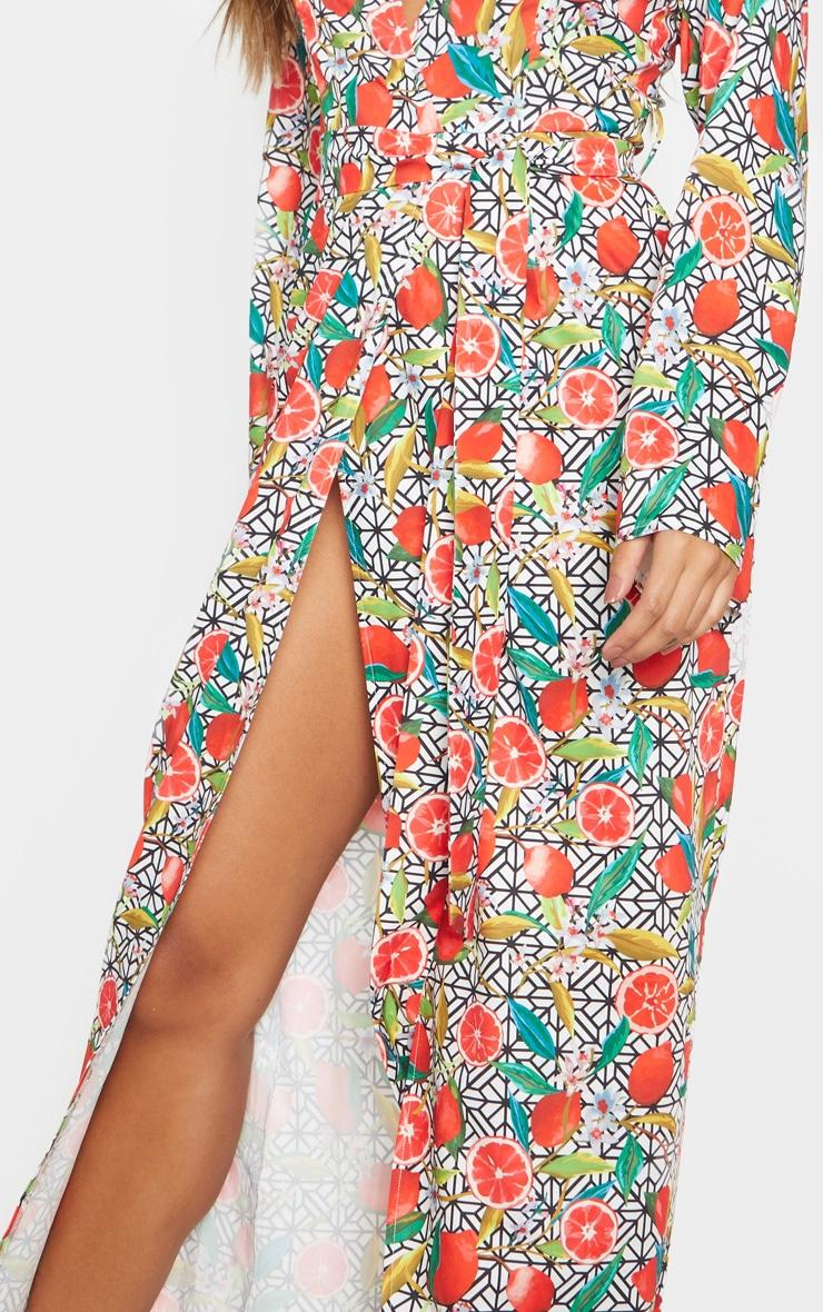 White Fruit Geometric Print Kimono Maxi Dress 5
