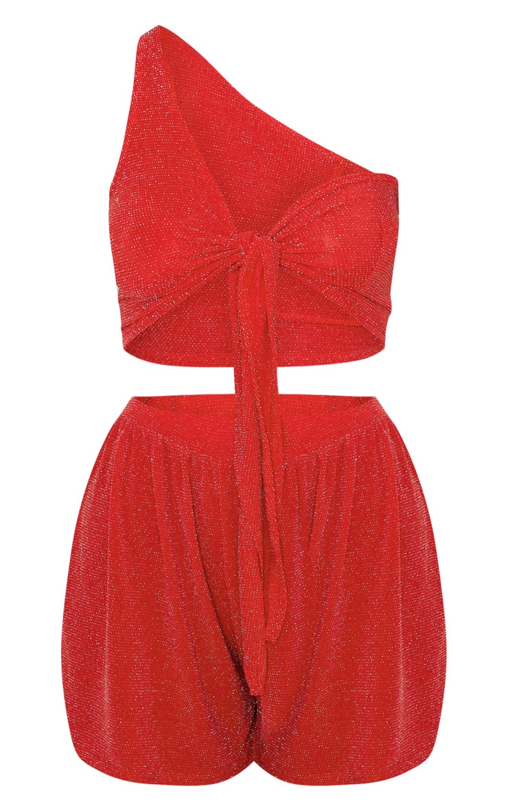 Red Textured Glitter One Shoulder Tie And Short Set 3