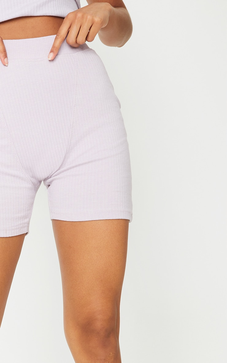 Lilac Structured Rib Seam Detail Shorts 5