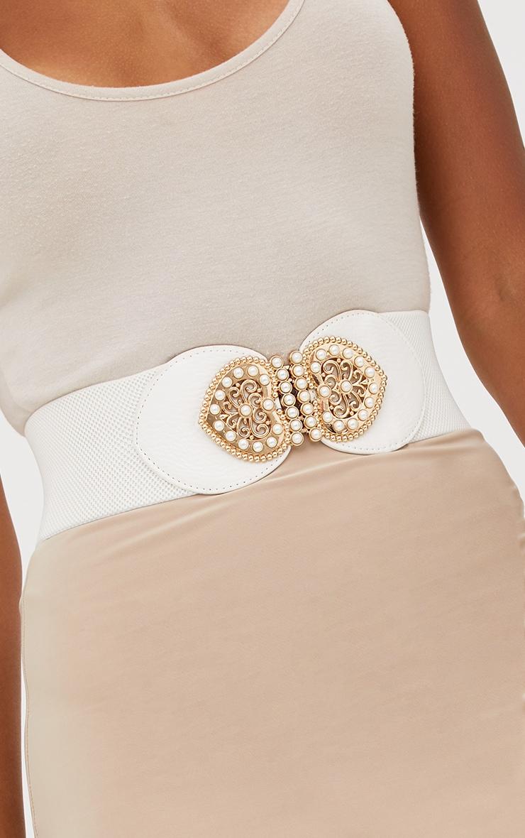 White Baroque Detail Waist Belt 3
