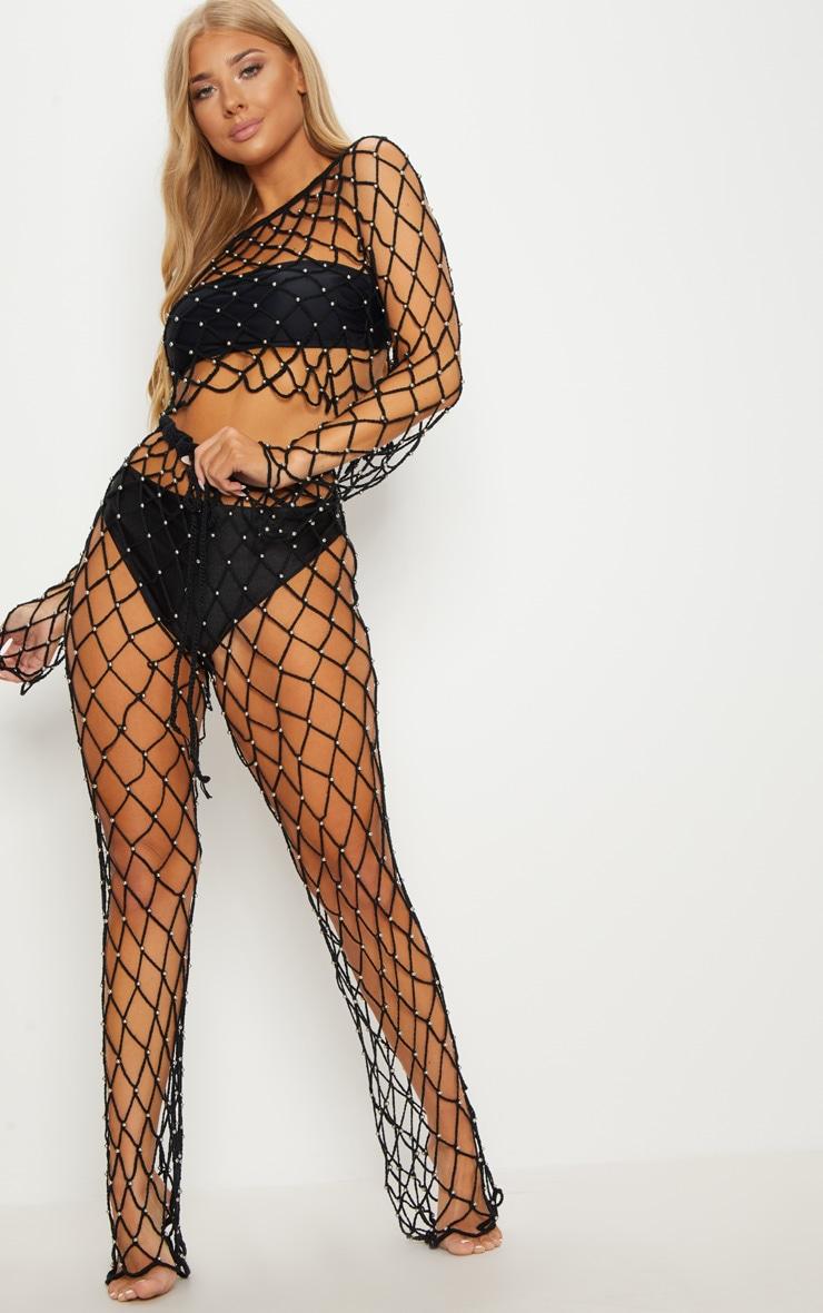Black Crochet Beaded Trousers 2