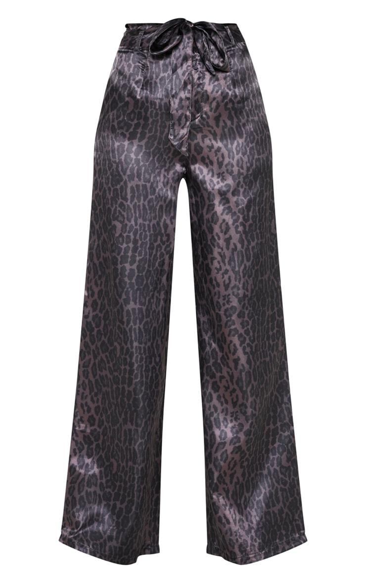 Purple Leopard Print Belted Waist Printed Wide Leg Pants 3