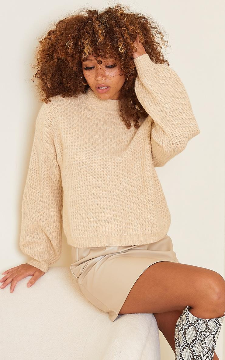 Stone Fluffy Yarn Turtle Neck Sweater 1