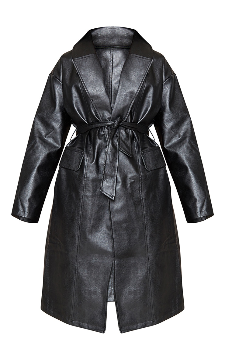 Black Faux Leather Oversized Midi Trench Coat 6