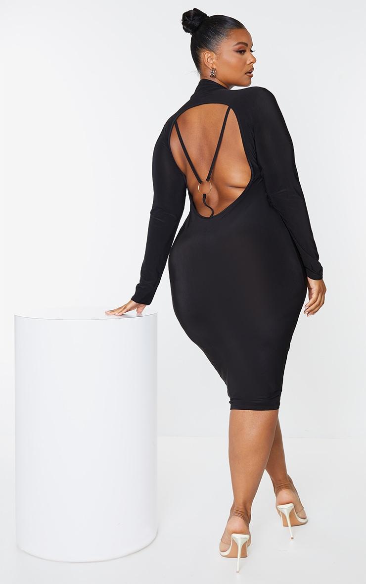 Plus Black Open Back Ring Detail Long Sleeve Midi Dress 1