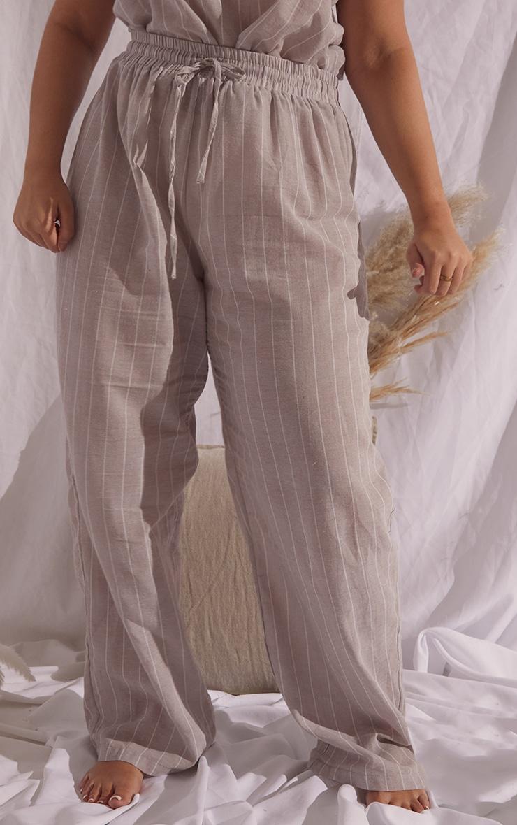 Plus Stone Wide Stripe Cotton Wide Leg PJ Bottoms 2
