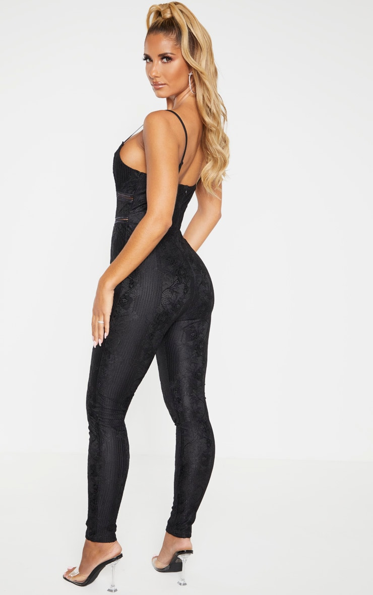 Black Strappy Lace Embroidered Trim Jumpsuit 2