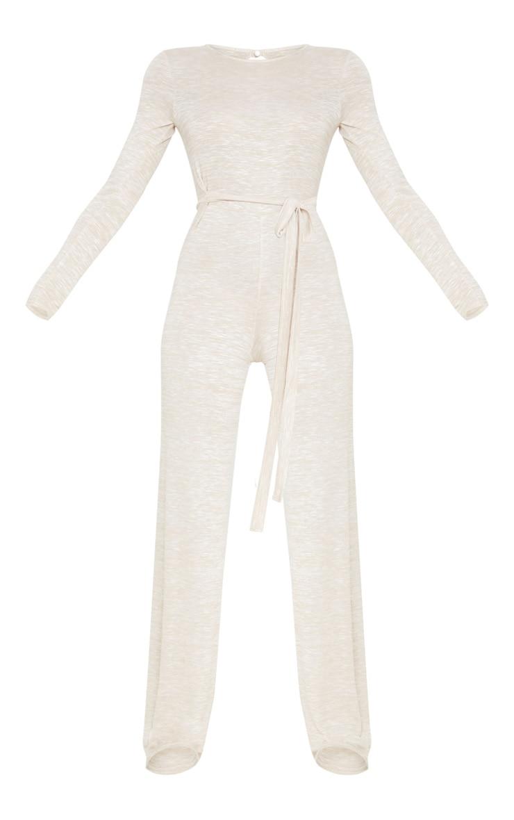 Oatmeal Belted Knit Wide Leg Jumpsuit 3