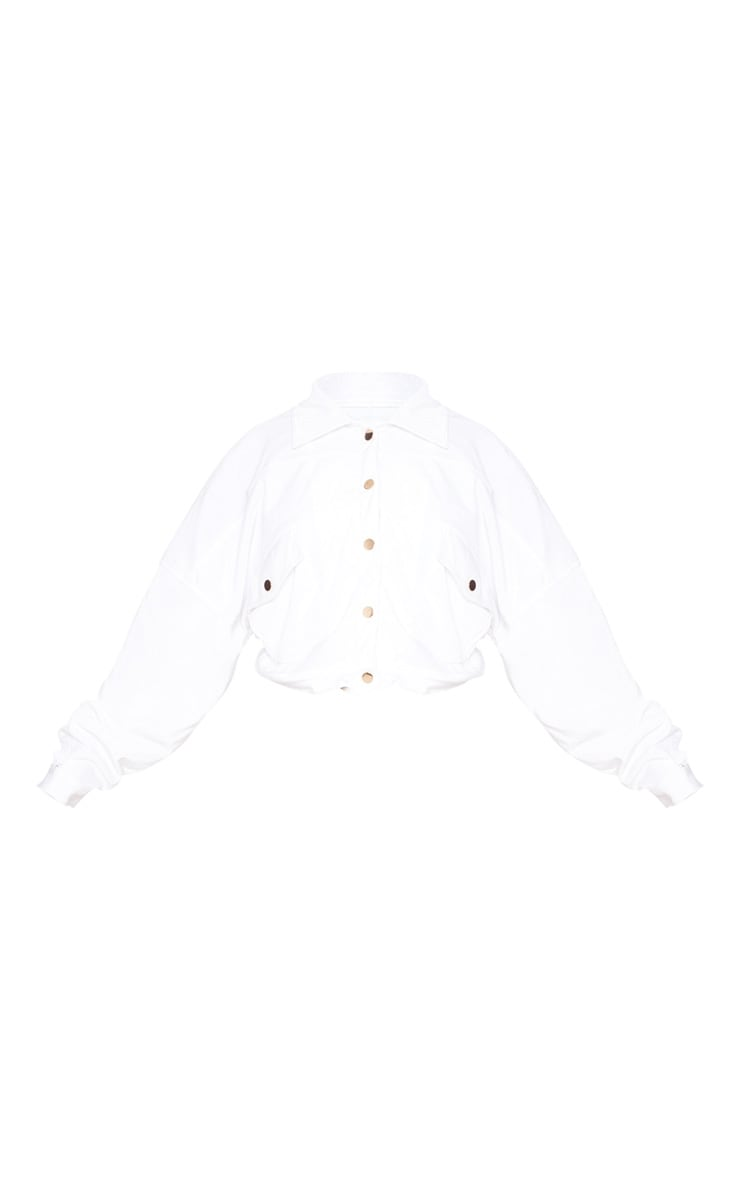 Plus White Cropped Cord Oversized Trucker Jacket 3