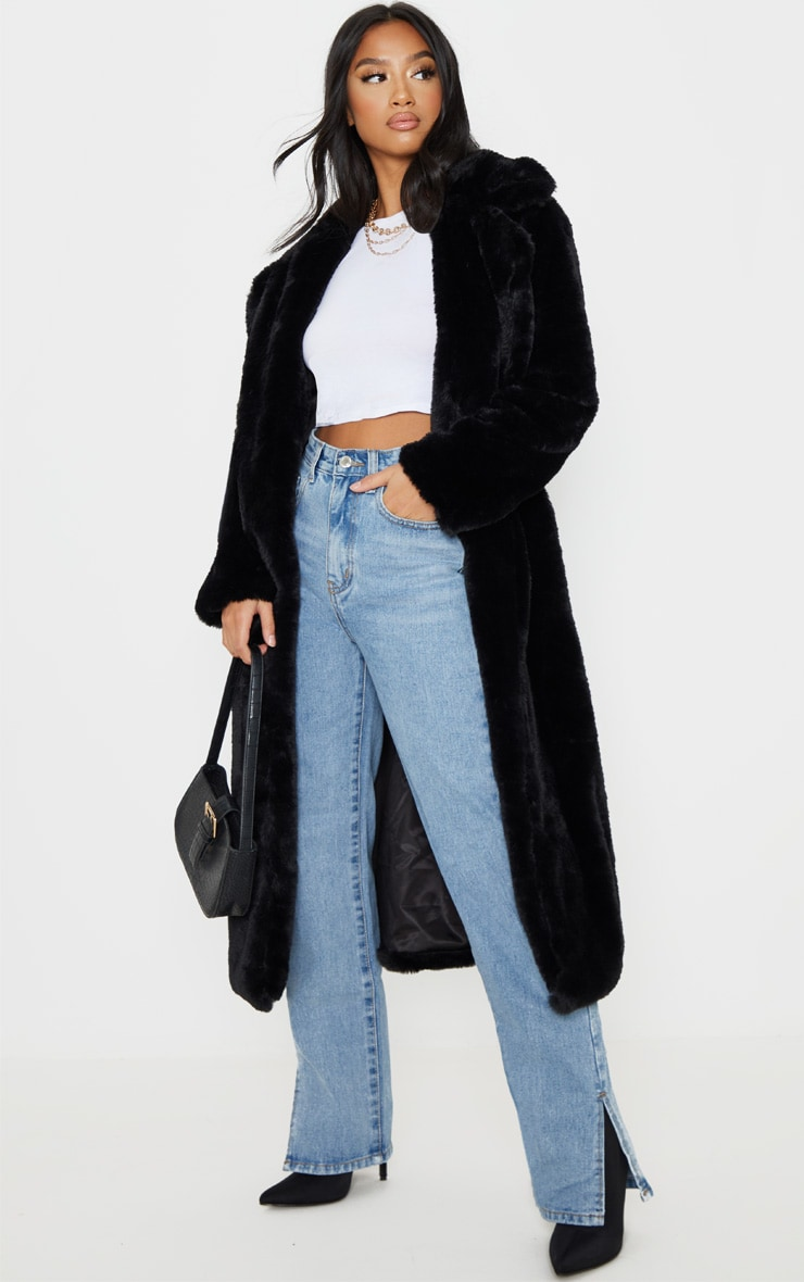 Petite Black Belted Faux Fur Coat 4